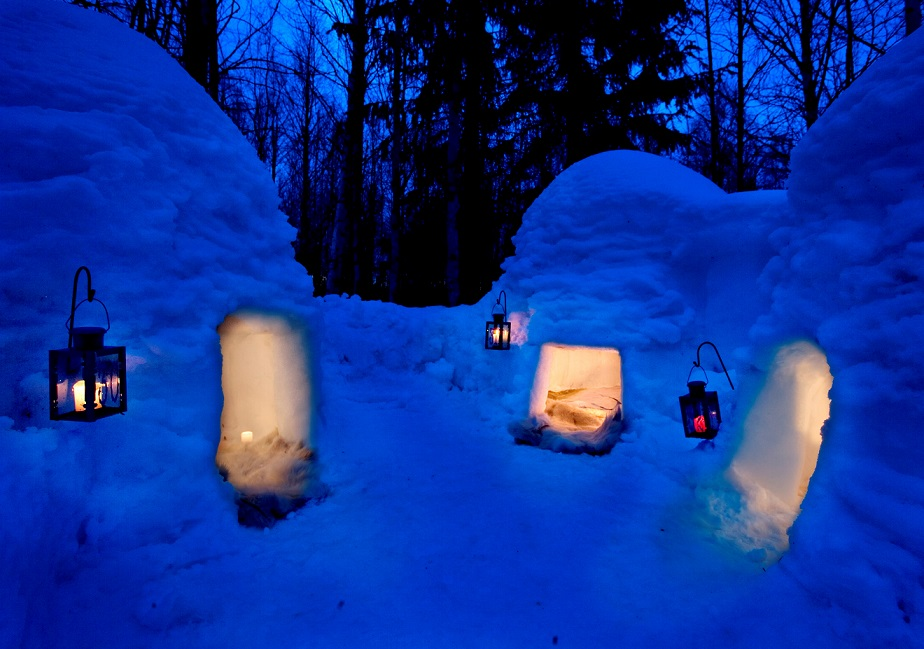 snow-igloos-twilight-snow-brick-rovaniemi